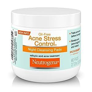 Neutrogena Oil-Free Acne Stress Control Night Cleansing Pads with Maximum-Strength Salicylic Acid Acne Medicine, 60 ct.