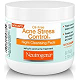 Neutrogena Oil-Free Acne Stress Control Night Cleansing Pads with Maximum-Strength Salicylic Acid Acne Medicine, 60 ct.