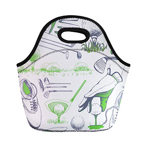 Semtomn Lunch Bags White Hand Golf Basket Shoes Car Putter Ball Gloves Neoprene Lunch Bag Lunchbox Tote Bag Portable Picnic Bag Cooler Bag