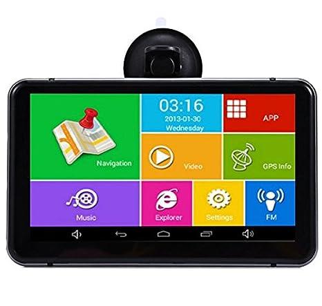 yuyitec 7 Inch Android coche GPS navegación Wifi FM coche DVR cámara grabadora de vídeo 1080p portátil vehículo GPS Navigator 512 MB: Amazon.es: Electrónica
