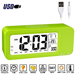 Alarm Clock for Kids, Aitey Talking Digital Clock with Built-in Rechargeble Battery, 3 Alarms, Low Light Sensor Technology for Girls and Boys (Green)