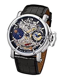 """Theorema - high quality mechanical wrist watch Copacabana """"Silver Black Leather"""" stainless steel with leather strap, two year warranty - 17 Jewels - Made in Germany"""
