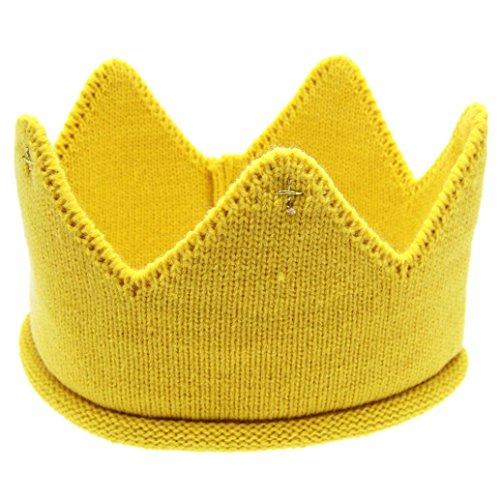 [Start Cute Unisex Baby Toddler Boys Girls Crown Knit Headband Beanie Hat (Yellow)] (Bell Boy Hat Costume)