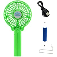 Happy-top Handfan Rechargeable Fans Portable Handheld Mini Fan Battery Operated Cooling Fan Electric Personal Fans Foldable Fans for Home Office and Travel (Green)