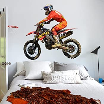 Amazoncom Full Color Wall Decal Sticker Dirt Bike Moto Motorcycle