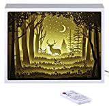Papercut Light Boxes, Night Light Lamp of Creative Light Paintings – The Deer in The Deep Forest at Night (White)