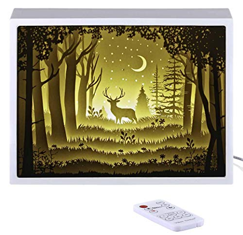 Papercut Light Boxes, Night Light Lamp of Creative Light Paintings - The Deer in The Deep Forest at Night (White)