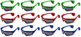 Set of 12 Flashing LED 'Sport Eagle' Light Show Children's Kid's Light Up Toy Glasses w/ UV 400 Protection (Colors May Vary)