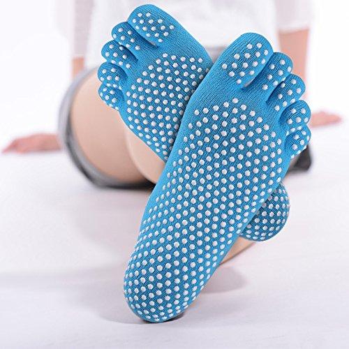 GHB 4 x Calzini Yoga Calzini Antiscivolo a 5 Dita in Cotone per Donna - 4 Colori