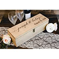 Personalized Engraved Wine Box - First Names and Vintage, Custom Text