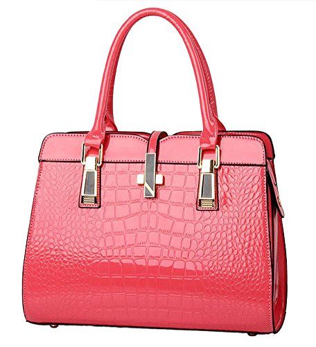 Embossed Patent Leather Satchel - Laryana Women's Tote Croco-embossed Patent Leather Top Handle Satchel Shoulder Handbag