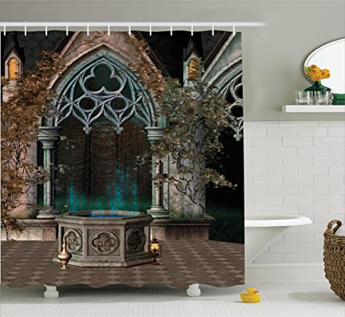 Ambesonne Gothic House Decor Shower Curtain, Mystic Patio with Enchanted Wishing Well Ivy on Antique Gateway to Magical Forest, Polyester Fabric Bathroom Set with Hooks, 75 Inches Long, Multicolor