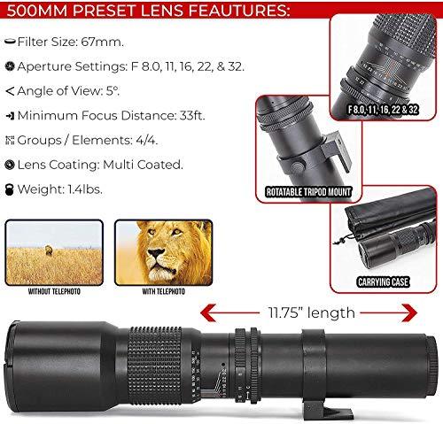 Canon EOS Rebel T6 DSLR Camera + EF-S 18-55mm is II Lens + 75-300mm & 500mm Telephoto Lens + Filter Kit + 64GB Memory Card + Gadget Bag + Flash + Remote + Tripod & Monopod- Professional Bundle