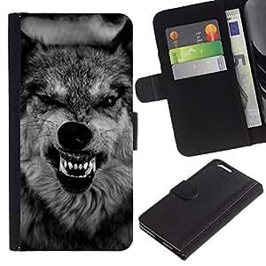 A-type (Wolf Ferocious Muzzle Teeth Roar Black) Colorida Impresión Funda Cuero Monedero Caja Bolsa Cubierta Caja Piel Card Slots Para Apple (5.5 inches!!!) iPhone 6+ Plus / 6S+ Plus