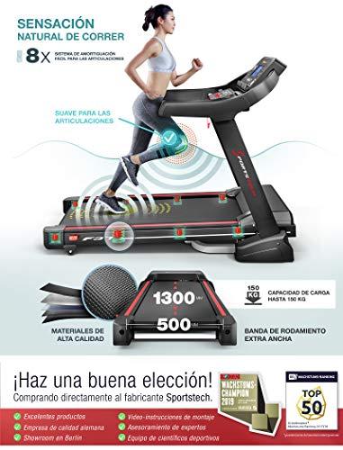 SportstechF37 Cinta Correr Plegable Profesional,Velocidad hasta 20 km/h,Sistema de amortiguación de hasta 150 kg, inclinación del 15%, App. para móviles, ...
