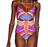 FQHOME Womens Fashion Indian Print One Piece Swimsuit Size S