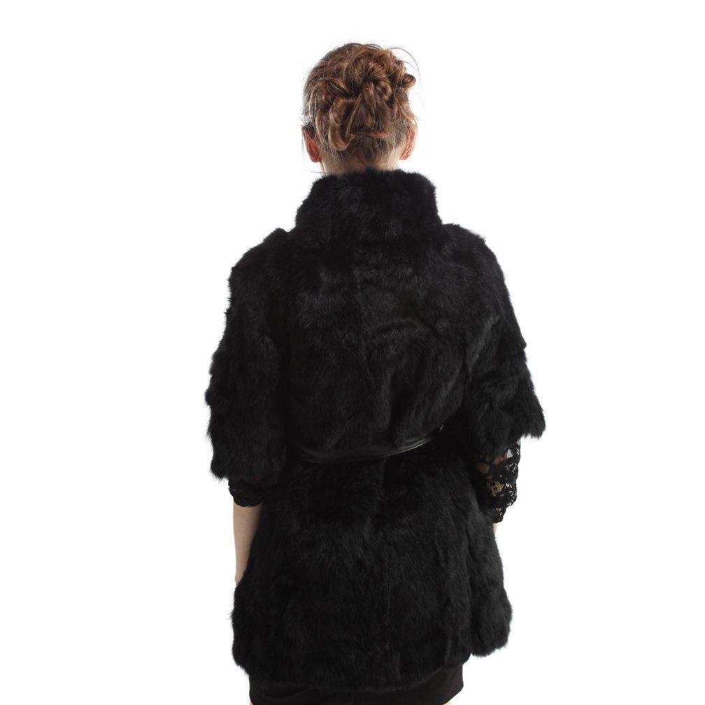Mantel Pelz Warme Fell Mit Weste Gürtel Schwarz Kaninchen