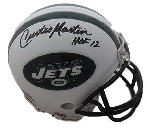 Curtis Martin Autographed New York Jets Riddell Mini Helmet HOF 12 JSA