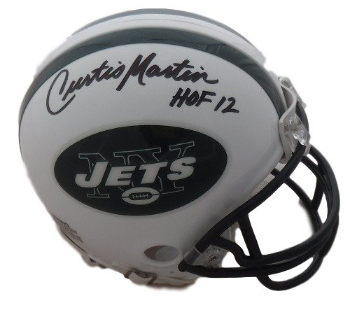 Curtis Martin Autographed New York Jets Riddell Mini Helmet