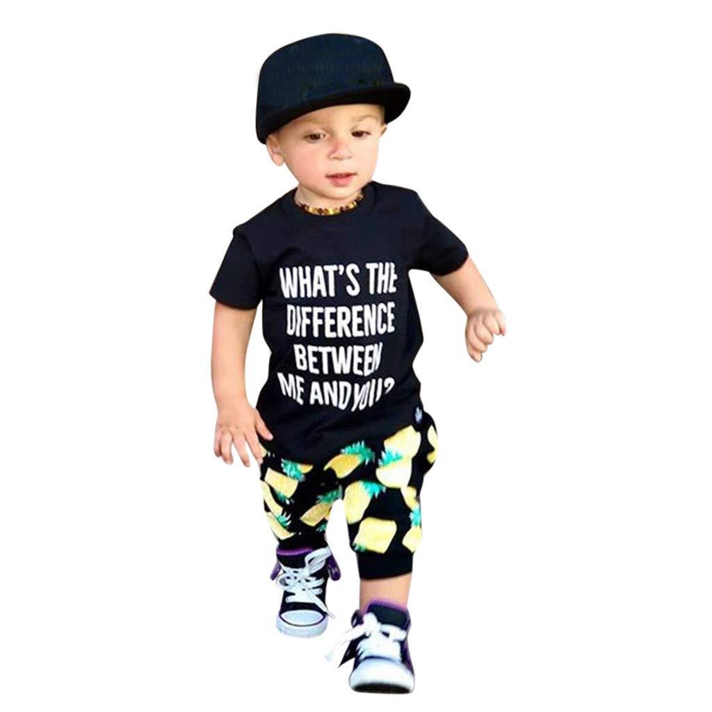 Mysky Summer Toddler Kids Baby Fashion Letter Print T-Shirt Tops+Pineapple Pants Outfits Set Black