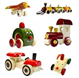 Ceejay Toys Set Of 6 Colorful Wooden Cars & Baby Toys