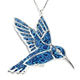 "925 Sterling Silver Hummingbird Necklace Pendant Handmade Polymer Clay Bird Jewelry, 16.5"""