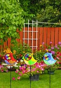 Rojo Amarillo y azul jardín pájaros viento Spinners