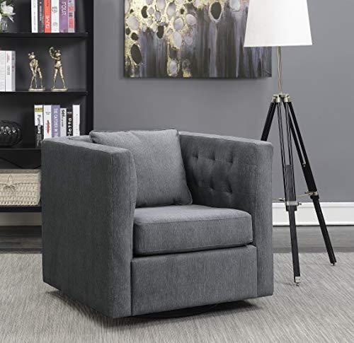 (Pulaski 156-DSA460-006-347 Porter Tufted Inner Arm Swivel Accent Chair Grey)