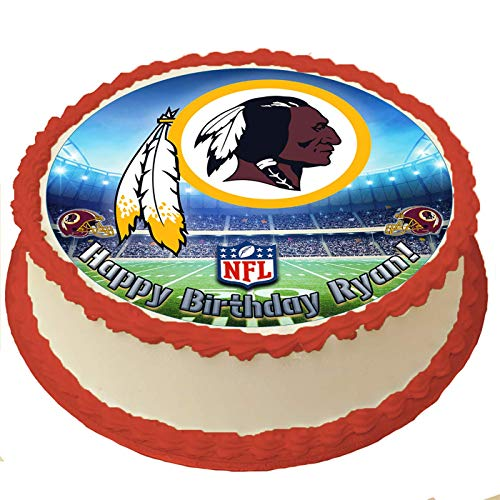Redskins Birthday Cake (Washington Redskins NFL Personalized Cake Topper Icing Sugar Paper 8 Inches Round Sheet Edible Frosting Photo Birthday Cake Topper (Best Quality)