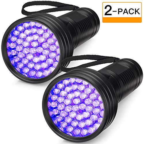 (2-Pack UV Flashlight Black Light, FOLKSMATE 51 LED 390-395 nm Ultraviolet Blacklight Urine Detector for Dogs, Pet Stains, Bed Bugs, Scorpions, Portable for Travel Black Light)
