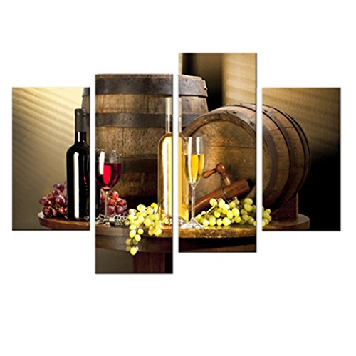 - Moco Art Canvas Wall Art Painting Grape and Wine Painting Food Pictures Print On Canvas For Living Room Home Decor Stretched and Framed Ready to Hang 4 Panels