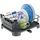 mDesign Kitchen Dish Drainer Rack with Swivel Spout for Air Drying on Kitchen Counter- Matte Black/Slate