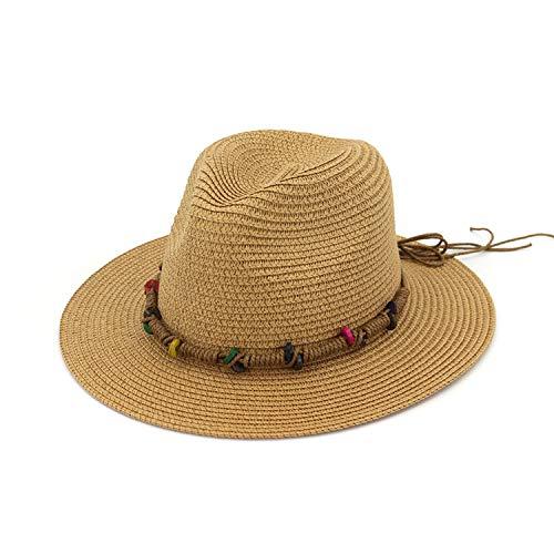 Women Straw Fedoras Hats with Ribbon Colored Bead Ladies Girls Party Formal Jazz Hat Panama Sun Cap,Khaki