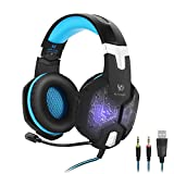 Image of KOTION EACH G1000,3.5mm PC Stereo Gaming Headset with in-line Mic,Integrated Microphone,Over-ear Headphones with Noise Isolation,Breathing LED Lights,for PC Mac Laptop Computer Smart Phone(Blue)