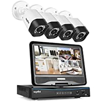 SANNCE 8CH 720P DVR Video Recorder with Build-in 10.1 LCD Monitor and (4) 1280 TV-Lines 1.0MP CCTV Bullet Cameras, Superior Night Vision, IP66 Weatherproof- NO HDD