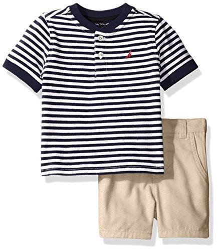 Nautica Baby Boys' Henley Shirt with Flat Front Short Set, Sport Navy, 18 Months