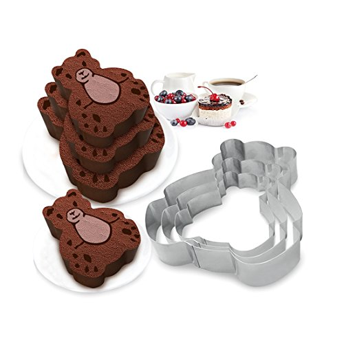 3 Tier Bear Multilayer Anniversary Birthday Cake Baking Pans,Stainless Steel 3 Sizes Rings Bear Molding Mousse Cake Rings(Bear-shapes,Set of 3) by Funwhale (Image #3)