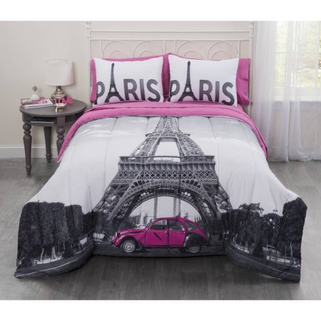 7 Piece Casa Photo Real Paris Eiffel Tower Bed in a Bag Bedding Set in King Size Includes Reversible Comforter, 2 Shams, Fitted Sheet, Flat Sheet and 2 Pillowcases