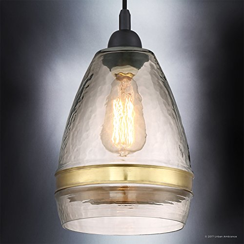 Luxury Vintage Pendant Light, Small Size: 12''H x 7.75''W, with Tuscan Style Elements, High-End Black Silk Finish and Light Brown Hammered Glass with Brass Accent Band, UQL2645 by Urban Ambiance by Urban Ambiance (Image #2)