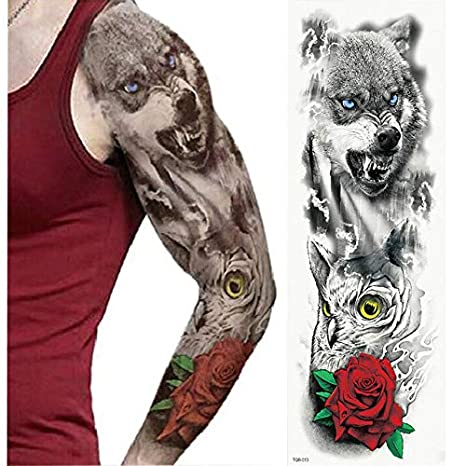 Etiqueta engomada del tatuaje temporal Brazo completo Impermeable ...
