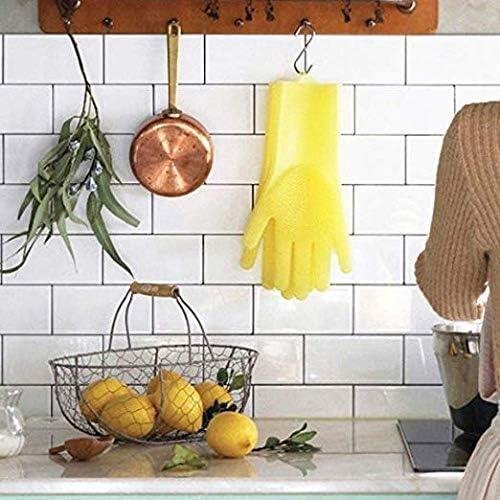 Fashion/_Man Gants en Silicone R/éutilisables Gants de Lave Vaisselle Gants de Nettoyage R/ésistant /à la Chaleur Gants Magiques pour Le Lavage,de la Vaisselle,Le Nettoyage,la Cuisine,Le M/énage Bleu