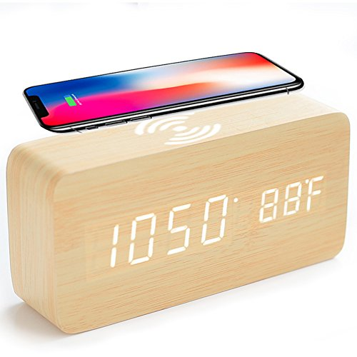HaloVa Alarm Clock, Silent Wooden LED Digital Clock with Sound Control Function, Qi Wireless Charging for iPhone Sumsang etc, Time Date And Temperature Display, 3 Set of Alarm, White