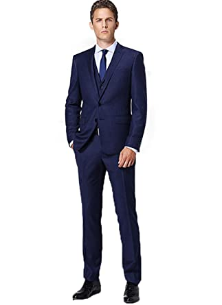 SIPEI Navy Blue Men Suits Groomsmen Tuxedos Wedding Business Party ...