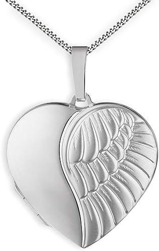 Engelsflügel Medaillon Anhänger 925 Sterling Silber Herz Liebe Engel