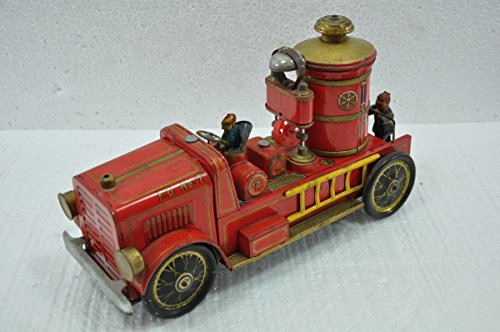 Indian Handicrafts Export Vintage F.D No. 7 MT Trademark Litho Fire Brigade Truck Battery Tin Toy, Japan