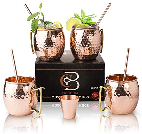 Moscow Mule Mugs 100% Solid Copper, Hammered, Gift Set of 4, No Nickel - Food Safe, 16oz, BONUS: 4 Straws + 1 Shot Glass & 2 E-Books by Copper-Bar]()