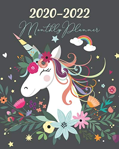 2020-2022 Monthly Planner: Three Year 36 Months Calendar Agenda, Monthly Weekly Yearly Notebook Planner Organizer Schedule With Inspirational Quotes and Holidays , Unicorn Floral
