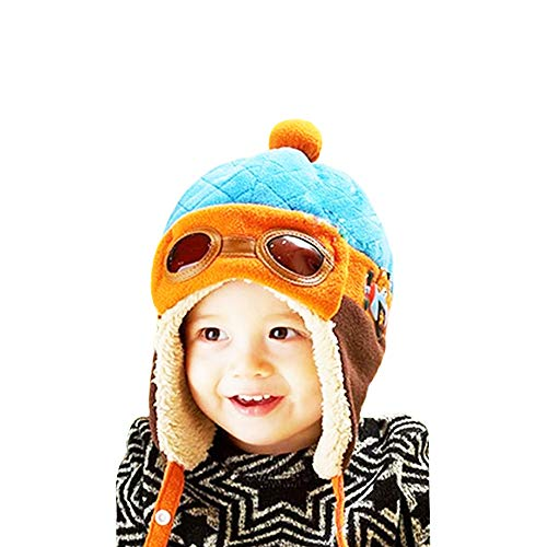 CoolKo Winter Aviator Korean Version with Velvet Eyes to Keep Warm Pilot Aircraft Children's Hat for Boy and Girl Age: 1 to 2 Years Old [Blue]