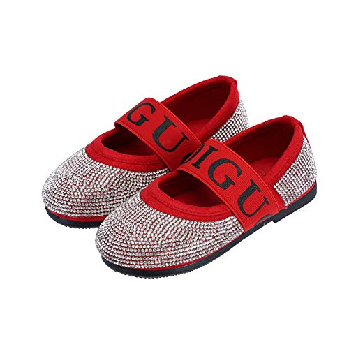 DOREI Toddler/Little Kids Girls Red Glitter Rhinestone Pirncess Party Mary Janes Flats Dress -