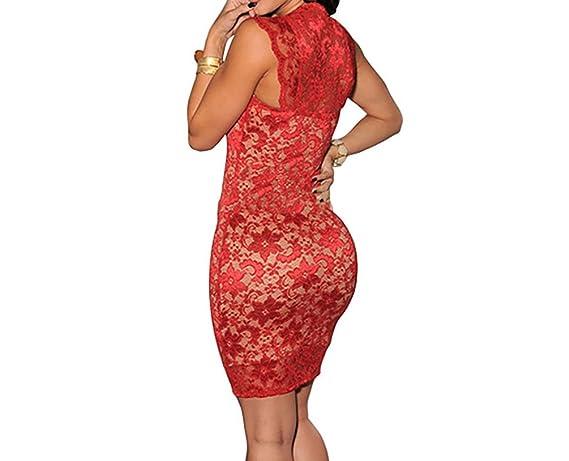 Vestidos de Fiesta de Noche Elegantes De Mujer Casuales Cortos Pegados Al Cuerpo De Encaje Sexys VE0014 at Amazon Womens Clothing store: